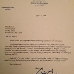Congrats from Governor Cuomo
